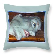 Portrait Sculpture Throw Pillow by Joan-Violet Stretch