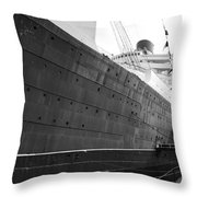 Portside Bw Queen Mary Ocean Liner Long Beach Ca Throw Pillow