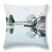 Portsmouth In Winter Throw Pillow