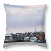 Portsmouth's Winter Skyline Throw Pillow by Eric Gendron
