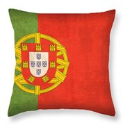 Portugal Flag Vintage Distressed Finish Throw Pillow