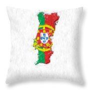 Portugal Painted Flag Map Throw Pillow