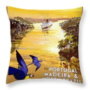 Portugal Vintage Travel Poster Throw Pillow