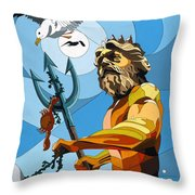 Poseidon - W/hidden Pictures Throw Pillow