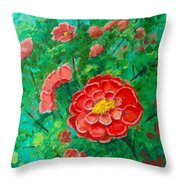 Posie In Red Throw Pillow