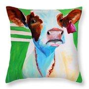 Posing Cow Throw Pillow