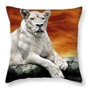 Posing Lioness Throw Pillow