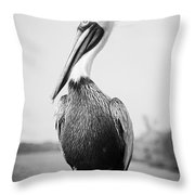 Posing Pelican - Black And White Throw Pillow