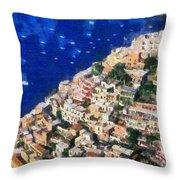 Positano Town In Italy Throw Pillow