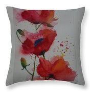 Positively Poppies Throw Pillow