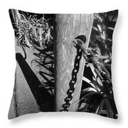 Post And Chain Fence Throw Pillow