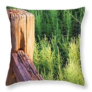 Post And Rail At Sunset Throw Pillow