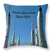 Post Card Of The Kennedy Space Centre Florida Throw Pillow