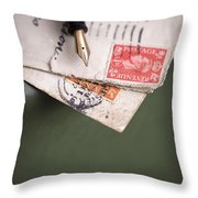 Post Cards And Fountain Pen Throw Pillow
