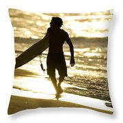 Post Surf Gold Throw Pillow