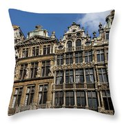 Postcard From Brussels - Grand Place Elegant Facades Throw Pillow