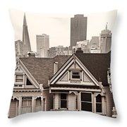 Postcard Row Bw Throw Pillow