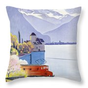 Poster Advertising Rail Travel Around Lake Geneva Throw Pillow