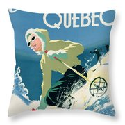 Poster Advertising Skiing Holidays In The Province Of Quebec Throw Pillow by Canadian School