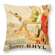 Poster Advertising Sunny Rhyl  Throw Pillow
