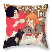 Poster Advertising The Compagnie Francaise Des Chocolats Et Des Thes Throw Pillow