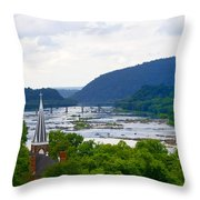Potomac River At Harpers Ferry Throw Pillow