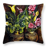 Pots And Flowers Throw Pillow