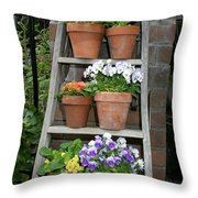 Potted Flower On Ladder Throw Pillow