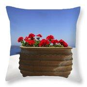 Potted Geranium Throw Pillow
