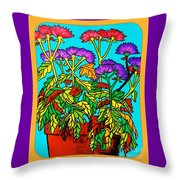 Potted Mums Framed Throw Pillow