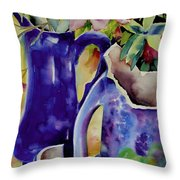 Pottery And Flowers Throw Pillow