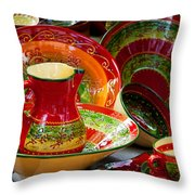 Pottery For Sale At A Market Stall Throw Pillow