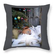 Pottery In Snow At Xmas Throw Pillow