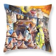 Pottery Seller In Essaouira Throw Pillow