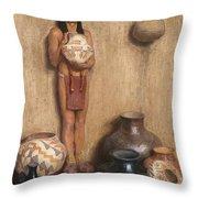 Pottery Vendor Throw Pillow