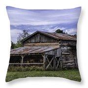 Pottsville Arkansas Historic Log Barn Throw Pillow