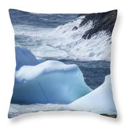Pounding Surf With Icebergs Throw Pillow