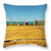 Pouring Beams On Beach House In Progress Throw Pillow