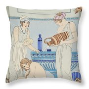 Pouring Water Over The Patient Throw Pillow by Joseph Kuhn-Regnier