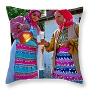 Pouring Wine For Guests In Demircidere Koyu In Kozak-turkey Throw Pillow