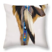 Pow Wow Regalia - White Throw Pillow