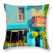 Powder Blue Corner Cafe Elses Pub Rue Roy  Montreal Sunny Summer Cafe Scene Carole Spandau Throw Pillow
