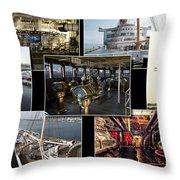 Power Collage Queen Mary Ocean Liner Long Beach Ca 01 Throw Pillow