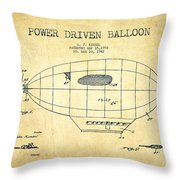 Power Driven Balloon Patent-vintage Throw Pillow