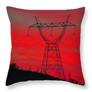 Power Lines Just After Sunset Throw Pillow