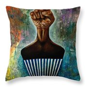 Power To The Afro Pick Throw Pillow