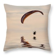 Powered Paraglider Throw Pillow
