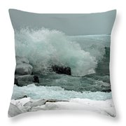Powerful Winter Surf Throw Pillow