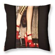 Prada Red Shoes Throw Pillow