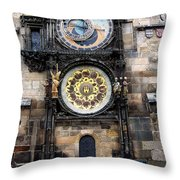 Prague Astronomical Clock Throw Pillow